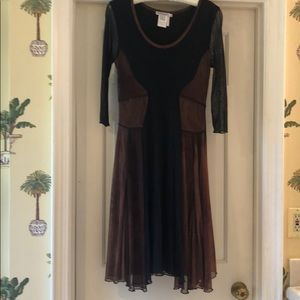 Brown black gauzey dress